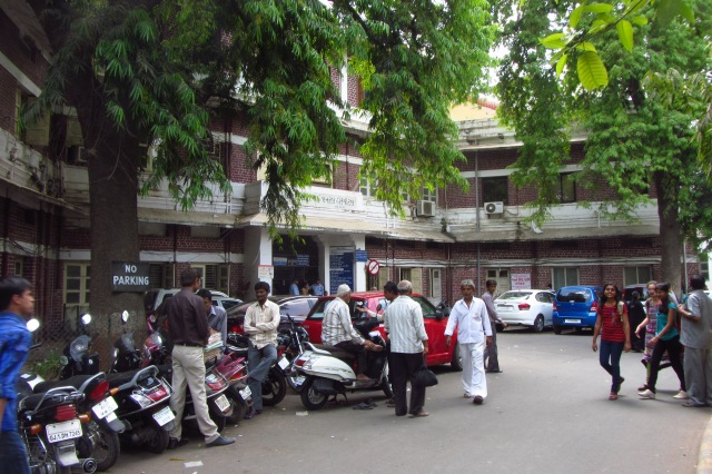 The Vadilal Sarabhai General Hospital and the Chinai Maternity Hospital, Ahmedbad -- the last bastion left for the poor of Ahmedabad to access affordable and qaulity medical care. Photo by Sindhu Thirumalaisamy.